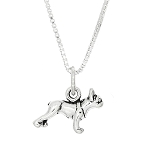 Sterling Silver Tiny Boston Terrier Dog Pendant Necklace