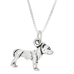 Sterling Silver Large Pit Bull Dog Charm Pendant Necklace