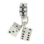Sterling Silver Three Dimensional Pair of Player's Dice Dangle Bead Charm