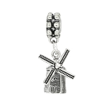 Sterling Silver Movable Dutch Windmill Dangle Bead Charm