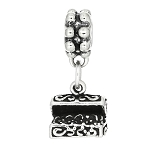 Sterling Silver One Sided Treasure Chest Dangle Bead Charm
