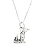 Sterling Silver Three Dimensional Weenie Dachshund Dog Necklace