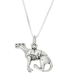 Sterling Silver Three Dimensional Racing Greyhound Necklace