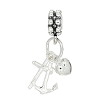 Sterling Silver 3D Faith Hope Love Heart Cross and Anchor Dangle Bead Charm