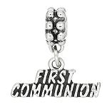 Sterling Silver First Communion Dangle Bead Charm