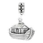 Sterling Silver One Sided Noah's Ark Dangle Bead Charm