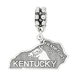 Silver Dangling State of Kentucky European Bead