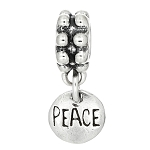 Sterling Silver One Sided Tiny Small Peace Disc Dangle Bead Charm