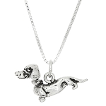 Sterling Silver Three Dimensional Dachshund Weenie Dog Necklace