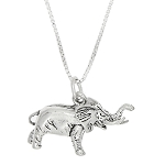 Sterling Silver Three Dimensional Large Elephant Necklace