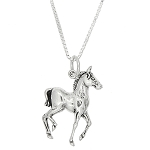 Sterling Silver One Sided Walking Horse Necklace