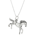 Sterling Silver Three Dimensional Galloping Pony Baby Horse Necklace
