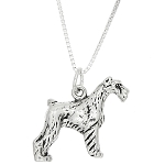 Sterling Silver 3 Dimensional Schnauzer Dog Necklace
