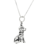Sterling Silver Small Dalmatian Puppy Dog Necklace