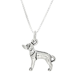Sterling Silver Three Dimensional Rhodesian Ridgeback Dog Necklace