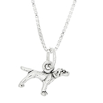 Sterling Silver Tiny Pointer Dog Pendant Necklace