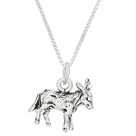 Sterling Silver Three Dimensional Donkey Mule Necklace