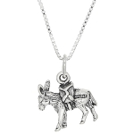 Sterling Silver Donkey Pack Mule Charm with Box Chain Necklace