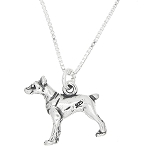 Sterling Silver Doberman Dog Charm with Box Chain Necklace