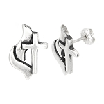 Sterling Silver Methodist Cross Stud Earrings