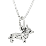 Sterling Silver Tiny Small Welsh Corgi Dog Charm Necklace for Children
