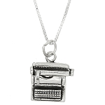 Sterling Silver Three Dimensional Typewriter Necklace
