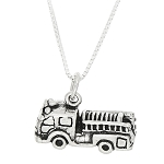 Sterling Silver Three Dimensional Fire Engine Truck Necklace
