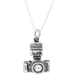 Sterling Silver One Sided Single Lens Reflex Photographer Camera Necklace