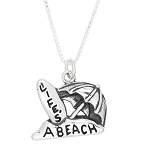 Sterling Silver Life's a Beach Travel Charm Necklace