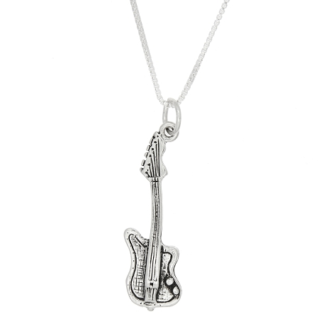 Sterling Silver One Sided Electric Guitar Necklace