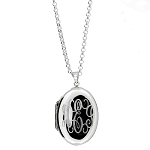Sterling Silver Personalized Custom Engraved Oval Locket Pendant with Rolo Chain Necklace