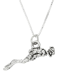 Sterling Silver Three Dimensional Scuba Diver Necklace