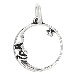 Sterling Silver One Sided Crescent Moon Face with Star Charm