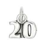Sterling Silver One Sided Number 20 Charm