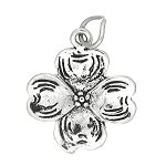 Sterling Silver One Sided Dogwood Blossom Charm
