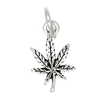 Sterling Silver Tiny Controlled Substance Marijuana Leaf Charm
