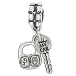 Sterling Silver Car Key with Remote Control Dangle Bead Charm