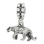 Sterling Silver Three Dimensional Leopard Cheetah Dangle Bead