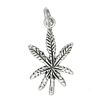 Sterling Silver Detailed Controlled Substance Marijuana Leaf Charm