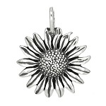 Sterling Silver One Sided Full Blown Sunflower Charm Pendant