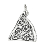 Sterling Silver One Sided Pizza Slice Charm