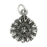 Sterling Silver One Sided Sunflower Charm