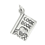 Sterling Silver One Sided Recipe Cook Book Charm