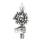 Sterling Silver One Sided Jasmine Bouquet of Flowers Charm