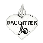 Sterling Silver One Sided Daughter Charm