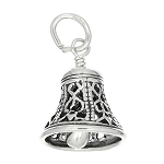 Sterling Silver Filigree Style Wedding Bell Charm