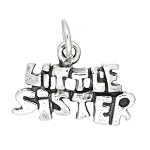 Sterling Silver One Sided Little Sister Charm