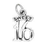 Sterling Silver Small Sweet 16 Charm