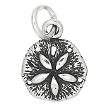 Sterling Silver One Sided Small Tiny Sand Dollar Charm