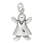 Sterling Silver One Sided Girl Figure Charm